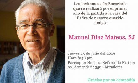 P. Manuel Díaz Mateos SJ: Eucaristía por primer año de fallecimiento