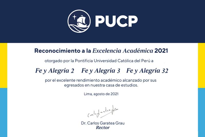 PUCP reconoce a tres colegios de Fe y Alegría por su excelencia académica
